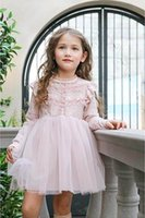 Wholesale Girls Dress Wholesales Korea - 2017 Spring New Girl Dresses Korea Style High Quality Lace Long Sleeve Princess Dress Children Clothing 3-8Y 17002