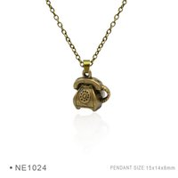 Wholesale Antique Metal Telephones - Antique Silver Plated Telephone tape measure Electric Iron Chain Necklaces Birthday Gifts For Women Platinum Charms Metal Pendant Necklaces
