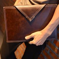 Wholesale Briefcase Portfolio Woman - Men Crazy horse Leather Envelope Bag Briefcase Portfolio Clutch Bags Vintage Handbags Fashion Business Brown Black Style