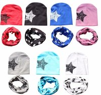 Wholesale Crochet Collar Scarves - Fashion Kids Cotton Baby Hat Scarf Children Scarf-collar Boys Girls Warm Beanies Star Print Infant Hats Baby Cap 19 colors
