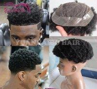 Wholesale Black Hair Color Men - 8A Grade Top Quality Black Color Virgin Brazilian Hair 7x9 size Kinky Afro Curl Men Toupee,Free Shipping!