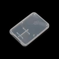 hafıza kartı saklama kutuları toptan satış-3.82mm Ultra Ince Süper Ince Plastik TF Kart + SD Adaptörü Vaka 2 in 1 bellek Kartı Saklama Kutusu Kasa için Ideal Kraliyet Posta Ucuz Nakliye