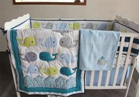Wholesale Boys Crib Bedding Set - Toddler Crib Bedding Set 5 PCS boy bedding Blue Dolphin Embroidered Inc crib safety padding baby blanket