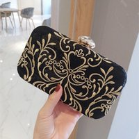 Wholesale Bridal Black Lace Fabric - Vintage Wedding Black Lace Gold Embroidered Bridal Hand Bags 2017 Flap Evening Party Clutch For Women Free Shipping