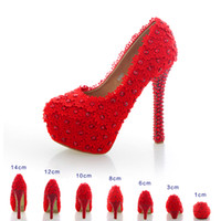 Wholesale Ladies Fashion Red High Heels - 2017 New Hand Made Christmas Lace Beads Bridal Heels Women's Fashion Lady Evening Party Pumps Pageant Prom Big Girls Wedding shoes