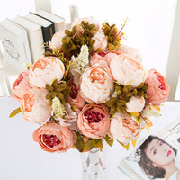 Wholesale China Fake Flowers - Home Decorative Flowers European Artificial Silk Flowers China 13 Branches Fall Fake Vivid Peony For Wedding Party Decoration