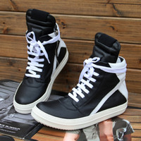 Wholesale Lime Green Boots - RICK Quality Brand New Owens Geobasket Genuine Leather Sneakers In Black Man White Big Size High-top Fashion Shoes Boots Women Casual Tennis