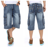 Wholesale Dance Cargo - Wholesale-Muiti Pocket Knee Length Denim Shorts For Men Summer Hip Hop Dance Loose Fit Man Baggy Cargo Jean Shorts Big Size
