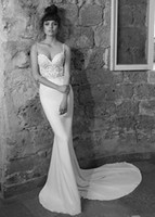 Wholesale Cheap Fitted Backless Wedding Dresses - Beaded Lace Mermaid Wedding Dresses 2017 Spaghetti Straps Backless Wedding Gowns Fitted Bridal Gowns With Appliques Cheap