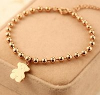 Wholesale Ladies Leather Bracelets Charms - 3Pcs stainless steel ladies bracelet gold-plated round beads cute bear flexible design adjustable length 2017 Summer Style