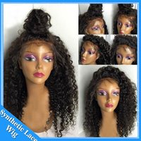 Wholesale Glueless Kinky Afro - Top quality African American women wig short hair kinky curly natural black glueless synthetic lace front wig heat resistant afro curly wig
