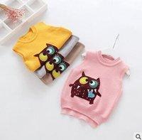 Wholesale Owl Sweater Girls - Kids waistcoats Girls cartoon owls applique knitting sweater Children Embroidery sleeveless sweater Autumn Winter Kids Clothes C1577