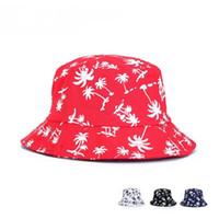 Wholesale Sun Hats Hip Hop - Fashion Unisex Foldable Coconut Palm Tree Print Bucket Hat Men Floppy Bob Cap Fisherman Hats Women Hip Hop Caps Sun Protection