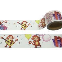 Vente en gros - 2016 Cute Monkey Animals Washi Paper Tape Outils de scrapbooking décoratifs Cinta Adhesive Decor Japanese Masking Papeterie Sticker