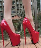 fábrica de sapatos de plataforma venda por atacado-Atacadista frete grátis preço de fábrica clássico peep toe oculto sexy plataforma de salto alto cor vermelha 17 cm patente weddingg sapato 148
