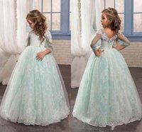 beautiful cute long dresses al por mayor-Nuevo Lindo Menta Sage Floral Lace 2017 Flower Girl Vestidos Manga Larga Beaded Niño Vestidos Hermoso Long Flower Chicas Vestidos de Fiesta