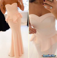 Wholesale Cheap Peach Mermaid Dresses - Gorgeous Peach Peplum Mermaid Evening Dresses Strapless Long Prom Dress Sexy Cheap Bridesmaid Dress Women Party Formal Gowns