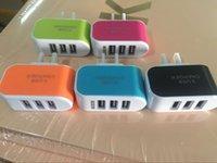 adaptador de saco usb venda por atacado-EUA Plug UE 3 Carregadores de Parede USB 5 V 3.1A LED Adaptador de Viagem Conveniente Adaptador De Energia com triplo Portas USB Para o Telefone Móvel com saco de opp