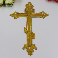 Wholesale Small Jesus - YACKALASI 20 Pieces Lot Jesus Cross Patches Small Size Gold Embroidery Appliqued Iron on Patch 15*10cm