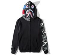 Wholesale Hooded Add Wool - 2017New hot sale embroidery hoodie,camouflage sleeve splice plus velvet women men's hooded fleece jacket, shark noctilucent add wool hoodie