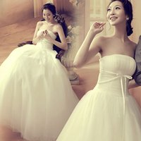Wholesale Custom Dress Korea - 2017 Strapless Wedding Dresses A Line Simple Ruffle Korea Backless Lace and Satin Bridal Wedding Gowns