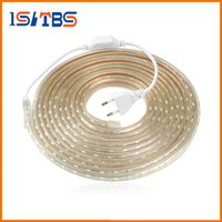 Wholesale Copper Wire Flat - Upgrad copper wire 220V SMD 5050 LED Strip Light 5m - 25M IP65 Waterproof led tape outdoor lighting Decor lamp + EU plug Adapter