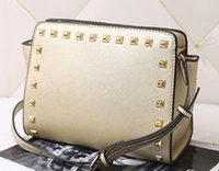 Wholesale Cross Pattern Tops - Top 2017 New women star models with cross pattern PU leather handbags and small rivet smiley bat bag shoulder bag Messenger bag