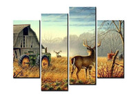 Wholesale Farm Room - Unframed Wonderful Nature Trees Fences Birds Mist Deer Barn Farm 4 Piece Canvas Paintings Wall Art Wall Decorations for Living Room Artwork