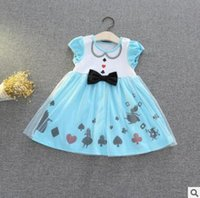 Wholesale American Poker - Cartoon Princess Party Lace Dress Poker Alice Crown TUTU Dress Girl Cartoon Lace Bow Birthday Party Dresses Baby Cotton Tulle Dress 682