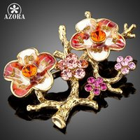 Wholesale Plum Blossom Brooch - Wholesale- AZORA Gold Plated Stellux Mutilcolour Austrian Crystal The Plum Blossom Branches Design Brooch TP0010