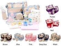 Wholesale Nursery Mama Bag - 7 Colors 5Pcs Set Waterproof Baby Diaper Bag Mummy bags Women Handbag Nappy Pack Tote Shoulder Bag Mama Baby Nursery Package Free Shipping