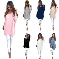 Wholesale Black Loose Knit Jumper - Autumn Winter Sweater Women Pullovers Knitted Casual Cashmere Sweaters V-Neck Loose Pullover Long Sleeve Jumpers Free Shipping