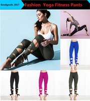 Wholesale Tied Leggings - 2017 Fashion Woman Yoga Fitness Pants GYM Dance Ballet Tie Wrap Bandage ActiveTight Winding Leggings Trousers 4colors M825