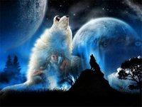 Wholesale Canvas Full Moon - New DIY 5D Mosaic Diamond Painting Cross Stitch kits animal wolf in moon full Resin round Diamonds Embroidery needlework Home Decor yx0040