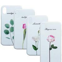3d белый цветной телефон оптовых-Для iPhone 8 силиконовый чехол для телефона цветок розы рельеф случаях растения мягкий белый чехол 3d шаблон для iPhone 8 7 плюс черный чехол