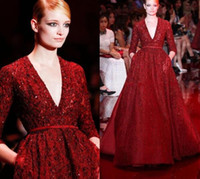 Wholesale Elie Saab Cocktail - Gorgeous Elie Saab Red Noble Evening Dresses Celebrity Dresses Sequins Shining Deep V-neck Floor Length Long Sleeves Runway Formal Dress