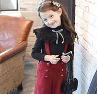 Wholesale Mandarin Collar Shirts Wholesale - Children princess T-shirt winter Girls high collar lace falbala long sleeve T-shirt kids thicken Bottoming Shirt children clothing A0160