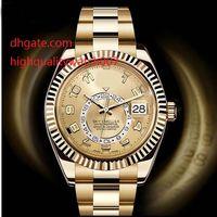 Wholesale Man Hand Watch Time - Top High Quality Yellow Gold Sky Watch Men Date Dual Time Zone Dweller Annual Calendar 326938 Watches Sapphire Luminous 42mm Mechanical Mens