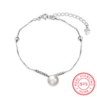Wholesale Wholesale Pearls Crafts - 2017 New Arrival 100% Real 925 Sterling Silver Bracelets Fashon Simulated Pearl Jewelry Elaborate Craft Chain Bracelet for Women Lady Bijoux
