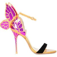 Wholesale Eur 42 - Sophia webster Evangeline Angel-wing high heel Sandal New Butterfly Rhinestone Studded Leather Sandals With Fine Heel Sandals EUR Size 34-42