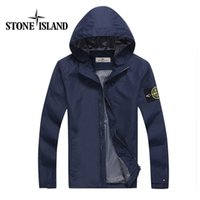 Wholesale Red Hat Appliques - 2017 fast shipping island new stone autumn mens jacket bomber jacket and coat stone blue jacket with hat red black blue