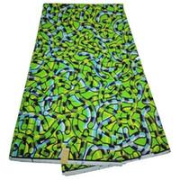 Wholesale Wax Clothes - 6 Yards lot Beautiful green african wax fabric printed design hollandais batik wax for clothes LB12-1