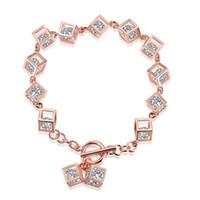 Wholesale 14k Fish - New women's 925 silver bracelet rose gold cubic zircon Link bracelets personality popular hot selling 1pcs lot wholesale drop shipping