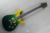 Wholesale Green Bird Guitar - Green and Yellow Electric Guitar with Gold Hardware,Mahogany Neck,Colorful Shell Bird Inlay,Can be Customized as Request