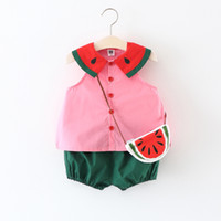 Wholesale Top Quality Girls Messenger Bags - Cheap good quality Cute watermelon Girls Clothes Baby 3pcs set Tops +shorts + messenger bag Infant Outfits Toddler Clothes Kids Sets A649
