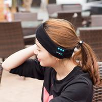 Wholesale Cotton Yoga Sweatband - Bluetooth Sports Hats Wireless Headset Caps Stereo Music Headband Sweatband Call Handsfree for Men and Women Running Beach Yoga
