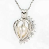 pingentes de gaiolas venda por atacado-18kgp Heart-Shaped Brilhante Gemas Pérola / Cristal / Coral Beads Gaiola Medalhões, Desejo Pendant Mountings para DIY Encantos Da Jóia Da Forma