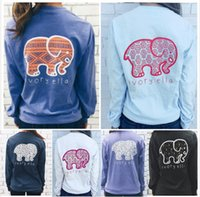 Wholesale Elephant Tee - Women's T-shirt Ivory Ella Elephant Pattern Print Classic Soft Tee Round Collar Casual Long Sleeve Top Shirt