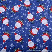 "Wholesale Santa Christmas Yard - Blue Santa Claus Snowflake Printed 100% Cotton Christmas Fabric, Tissue for Sewing Decoration Sold by Yard Meter 110cm 43"" Wide"