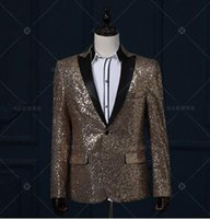 Wholesale Dance Costumes Male - casual jacket blazer silver singer dancer show male DS dance costumes outerwear coat DJ jazz nightclub performance stage prom